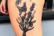 Lavender and bees tattoo on the thigh