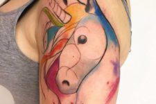 Original half-sleeve unicorn tattoo