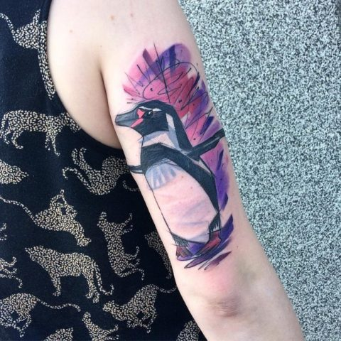Penguin and purple and pink background tattoo
