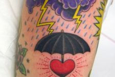 Purple clouds with yellow thunder tattoo