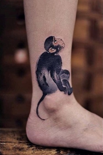 Realistic tattoo on the ankle