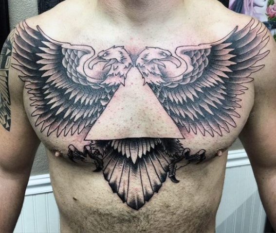 Two eagles tattoo on the chest