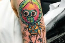 Unique half-sleeve monkey tattoo