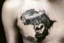 gorgeous and unique chest tattoo of a gorilla