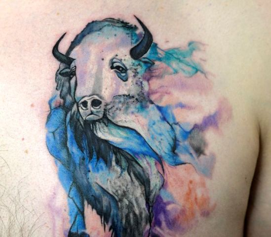 Watercolor bison tattoo