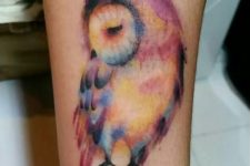 Watercolor tattoo on the leg