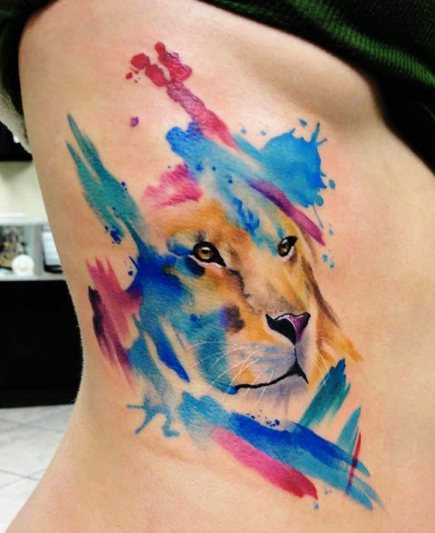 Watercolor tattoo on the side
