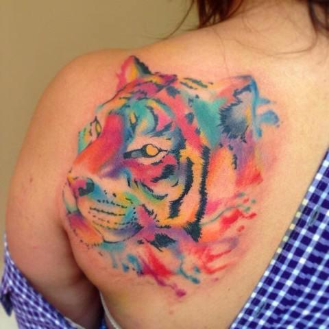 Watercolor tiger head tattoo