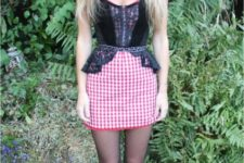 With checked skirt, peplum top and flat shoes