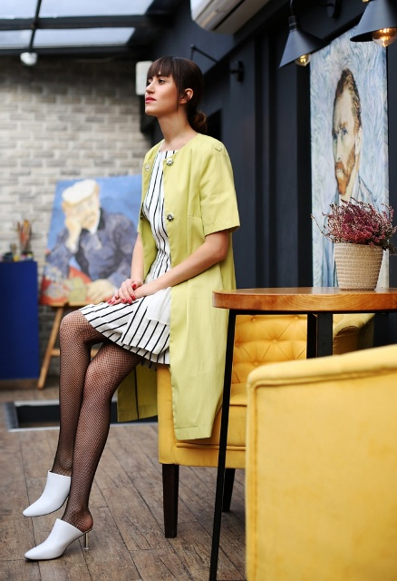 With striped dress, white mules and lemon yellow cardigan