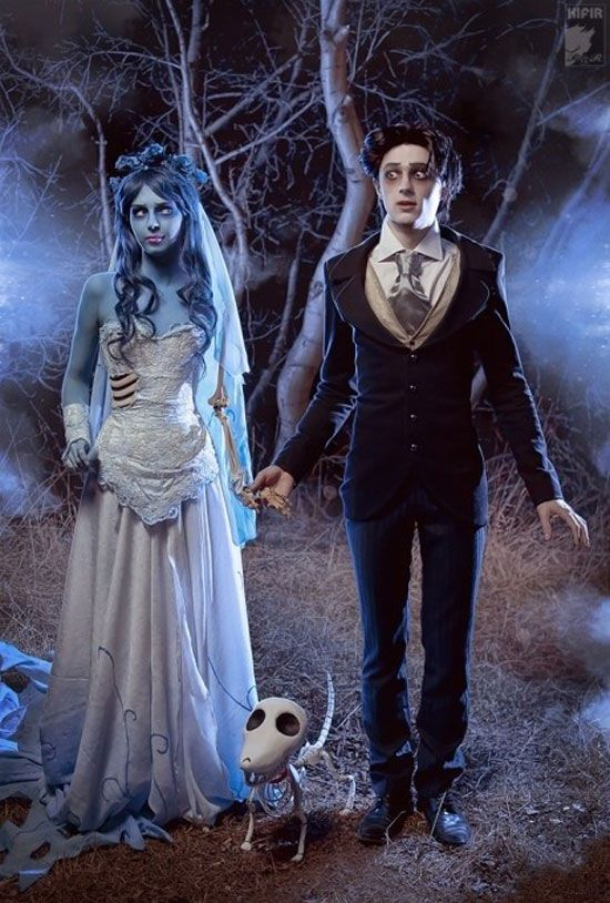 Corpse bride and her groom from Nightmare Before Christmas is a romantic idea