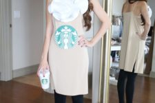 02 a cute and simple caramel frappuccino costume made of a neutral dress and a ruffled headband