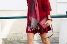 02 a red comfy dress with long sleeves, neutral flats and a scarf for comfort and warmth