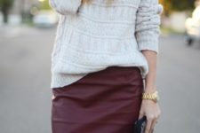 02 a white sweater and a burgundy leather pencil skirt create a comfy and girlish fall look