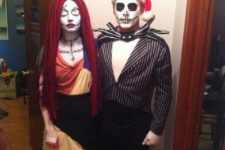 03 Nightmare Before Christmas couple costumes with stunning makeup