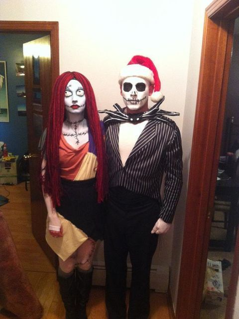 Nightmare Before Christmas couple costumes with stunning makeup