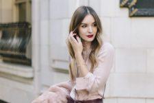 03 a burgundy leather mini, a blush blouse, a blush coat if necessary