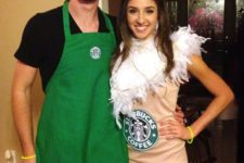 03 a couple dressed as a barista and a frappuccino – a great last minute costume idea