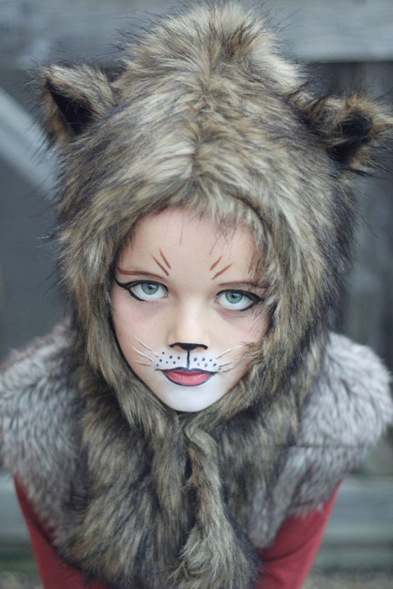 cute wolf makeup for a little girl and some faux fur to rock