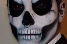 03 wicked skull makeup for men and a nose piercing