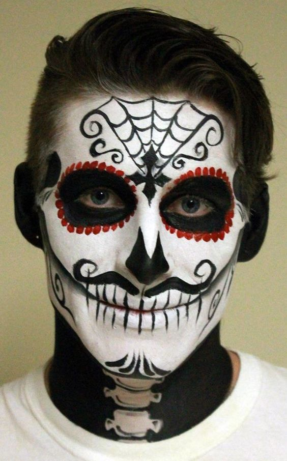 a gorgeous bold sugar skull makeup for a man isn't that difficult to recreate
