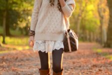 04 a white lace dress, a neutral sweater, grey tights, amber boots and a leopard scarf