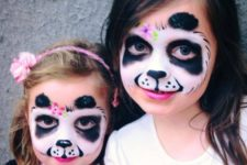 04 panda-inspired face paint for both girls looks cute and chic