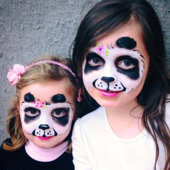 Picture Of Panda Inspired Face Paint For Both Girls Looks Cute And Chic