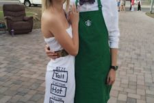 05 Starbucks couple's costumes – a barista and a drink is very easy to recreate