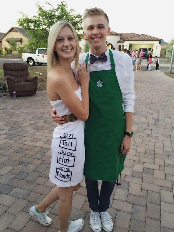Starbucks couple's costumes   a barista and a drink is very easy to recreate