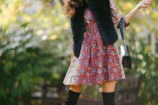 05 a colorful print dress, a black faux fur vest, black suede tall boots