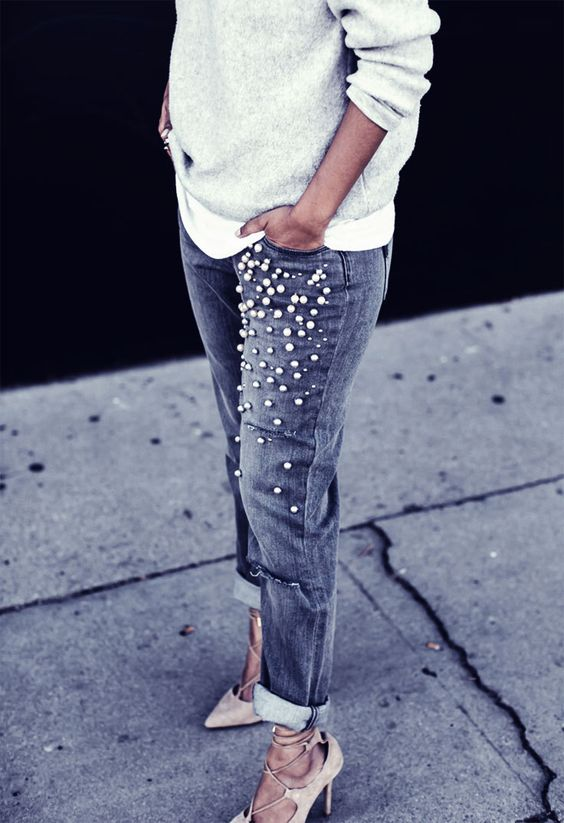 a grey sweater over a shirt, pearly jeans, blush lace up shoes