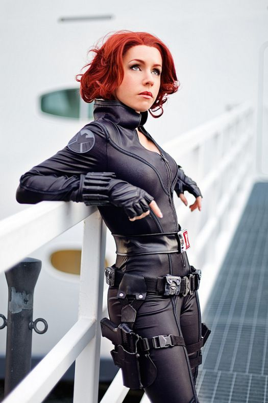 awesome Black Widow costume with a fitting jumpsuit, belts and gloves