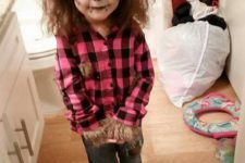 06 girly werewolf costume and makeup with ears and faux fur decorated clothes