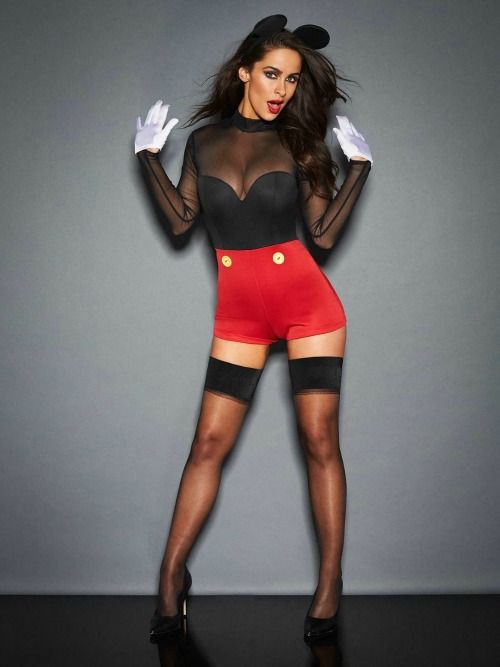 sexy Mickey Mouse costume with black stockings, black shoes, red shorts, a black illusion neckline bodice and ears
