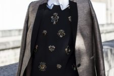 07 a brown shorts suit, a white shirt, a black embellished sweater for a creative work look