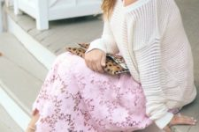 07 a white sweater, a pink lace midi dress, neutral heels and a leopard clutch