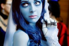 07 beautiful Corpse Bride costume and makeup, all blues on