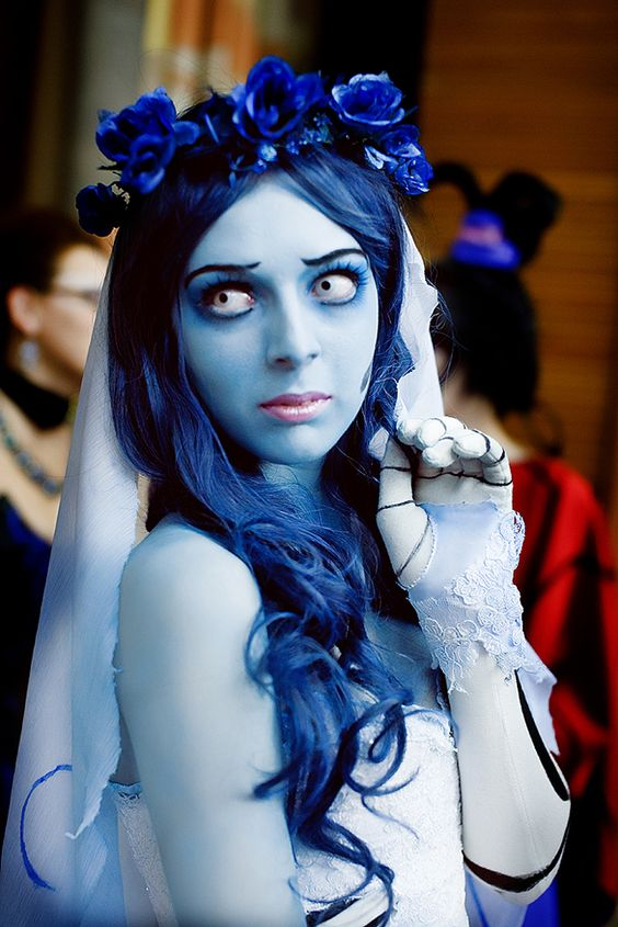 beautiful Corpse Bride costume and makeup, all blues on