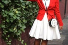 07 bunny costume from Alice In Wonderland with a white dress, a red blazer, dusty blue shoes with socks, a clock  crossbody and ears
