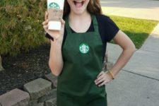 08 Starbucks employee costume plus an empty cup from Starbucks