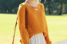 08 an orange sweater over a white lace dress and a brown corssbody for a cool fall look