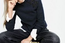 08 black culottes, a white shirt, a navy embellished sweater