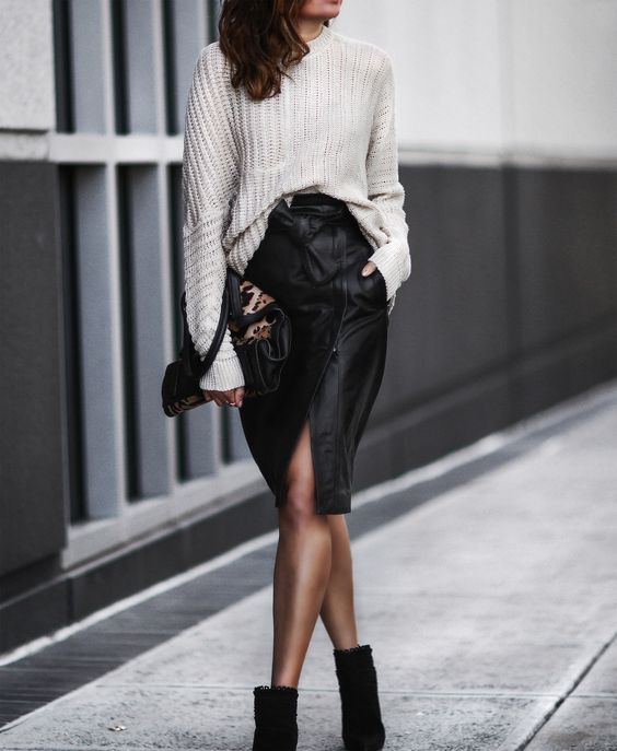 How To Style A Sweater With Leather 15 Ideas , Styleoholic