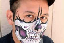 08 purple skull makeup for half face looks interesting and eye-catchy