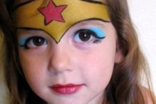 09 Wonder Woman face and neck paint for a super heroine look
