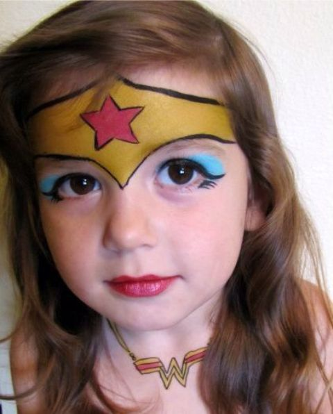 Wonder Woman face and neck paint for a super heroine look