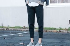 09 black cropped pants, a grey sweater over a top, grey flats and a black leather jacket