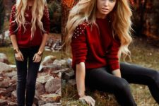 09 black jeans, a red embellished sweater and black shoes for the fall