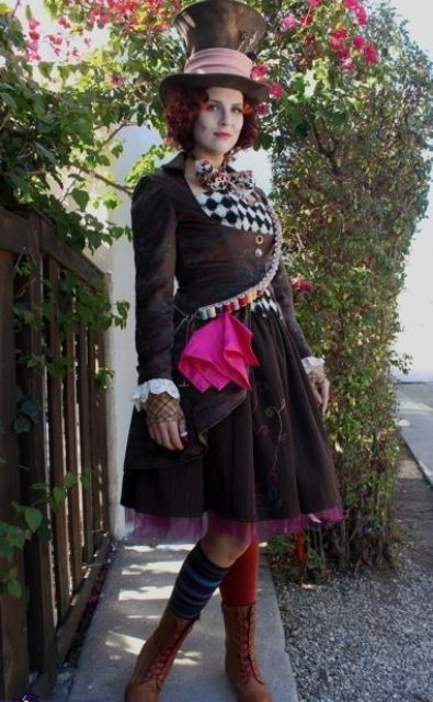 cool and bold female version of Mad Hatter costume with colorful touches